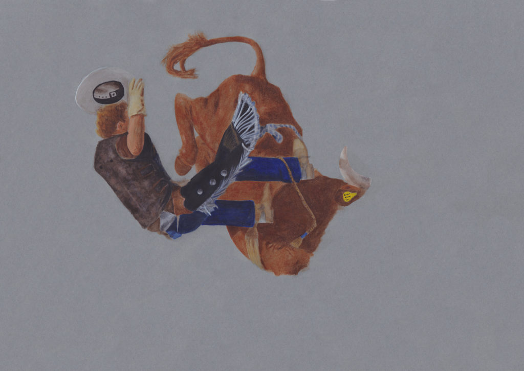 painting of cowboy falling off the bull