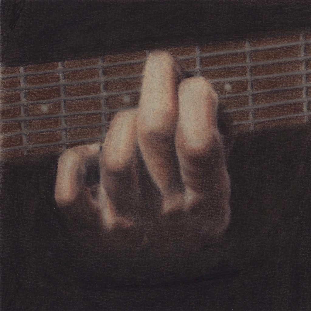 drawing of guitar hand