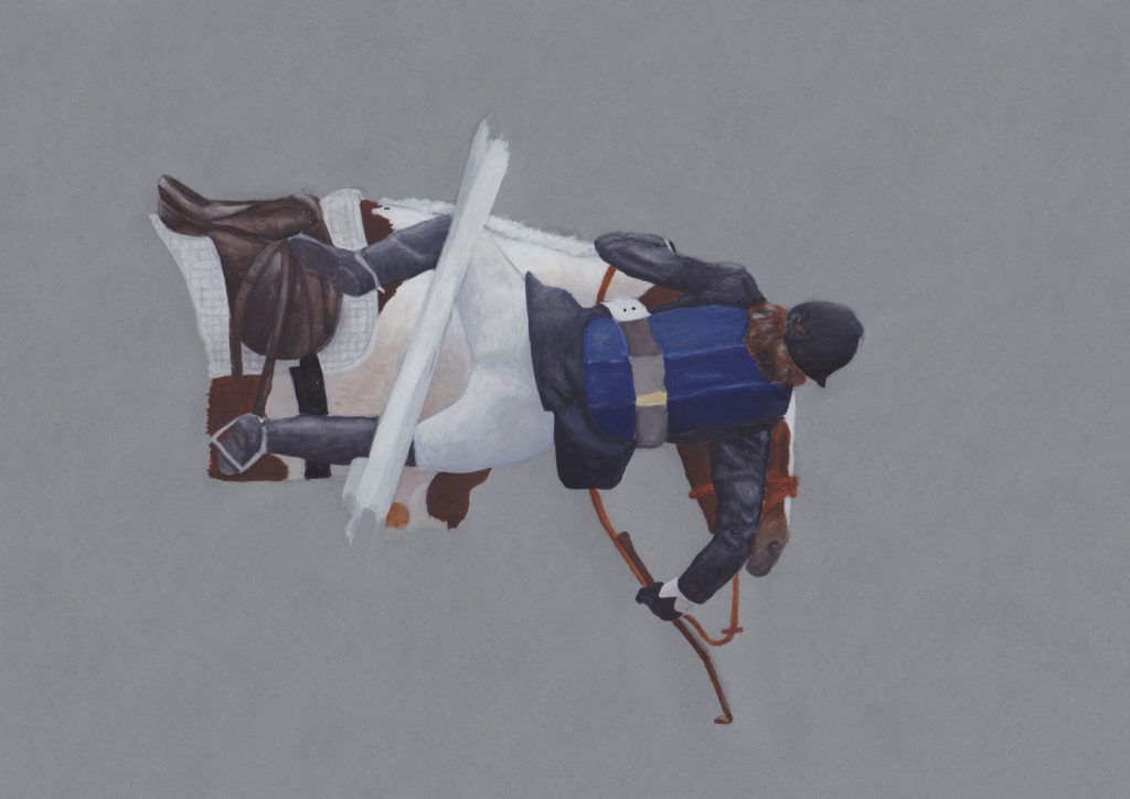 paining of horse rider falling off his pony