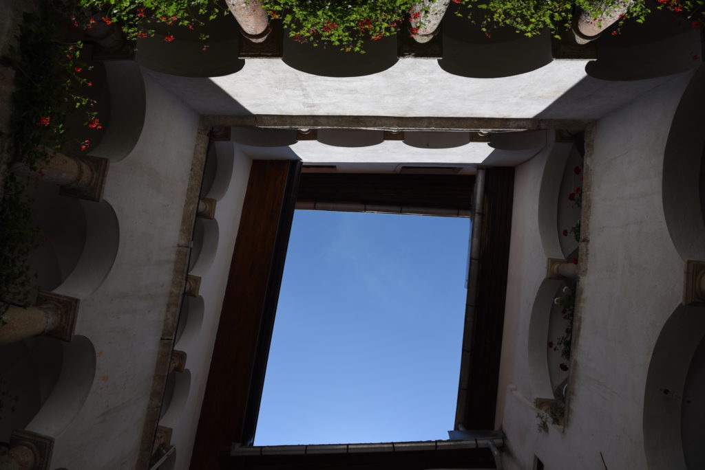 looking up an inner courtyard