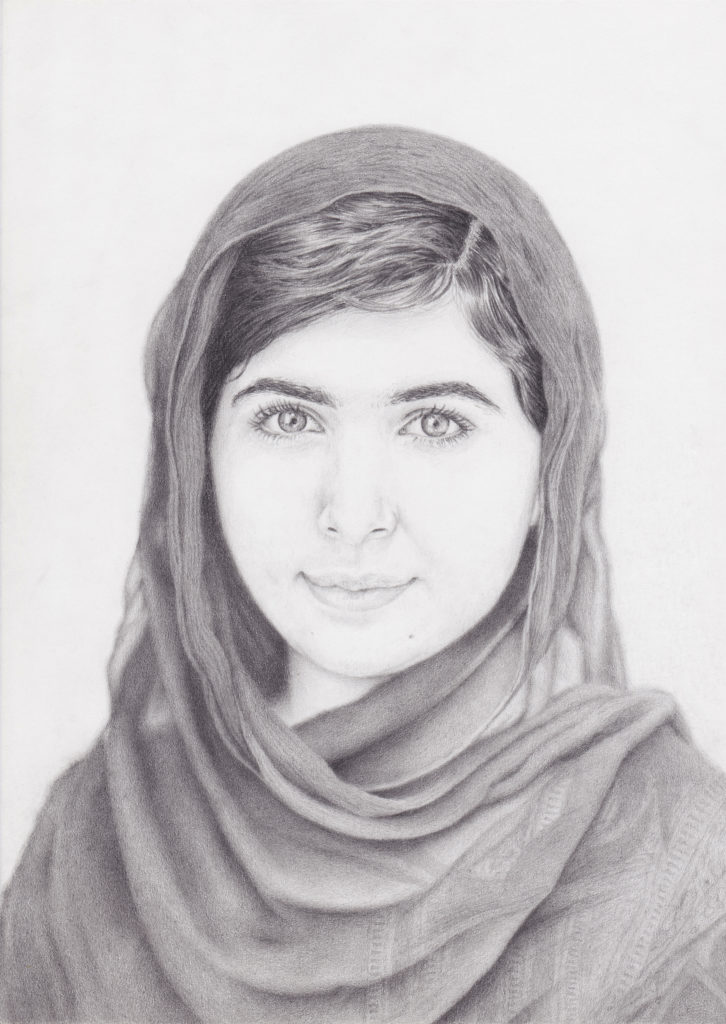 portrait drawing of Malala Yousafzai