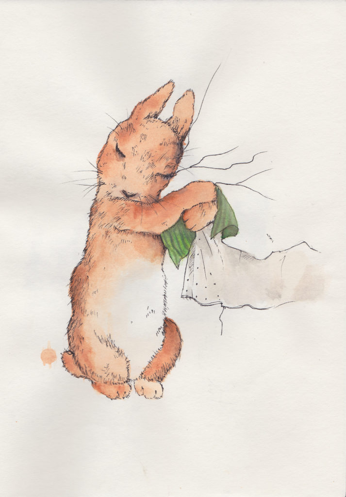 water color painting of rabbit