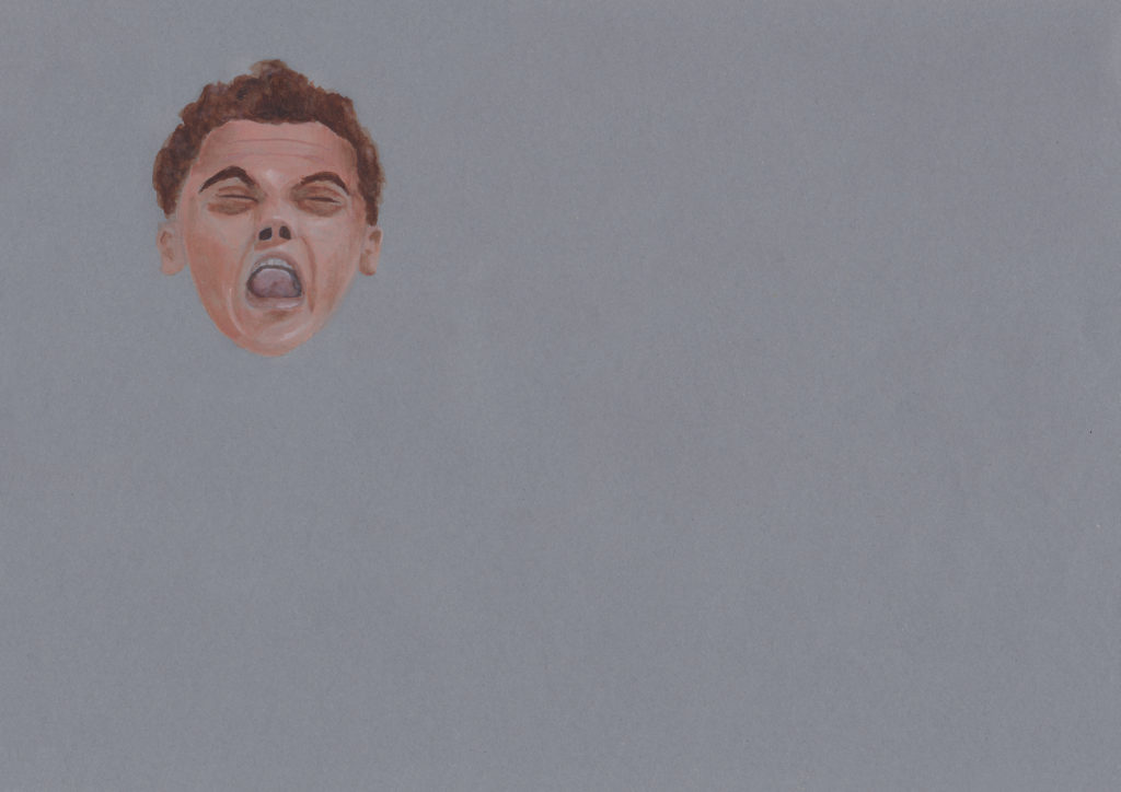 portrait painting of platform diver