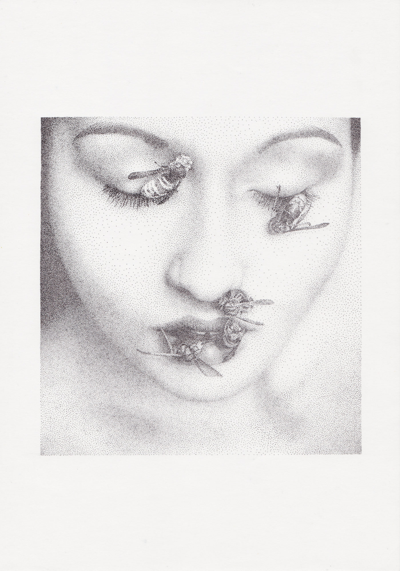 portrait drawing of woman with wasps on her face