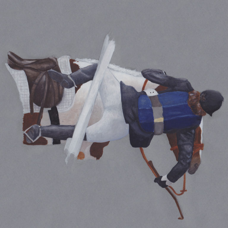 painting of horse rider falling off his pony