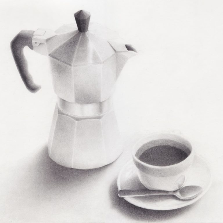 drawing of caffettiera and cup filled with coffee