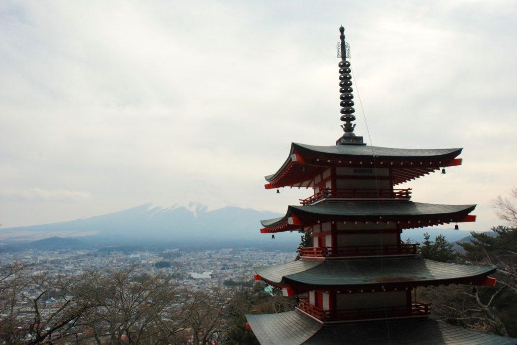 pagoda and Mount Fuji