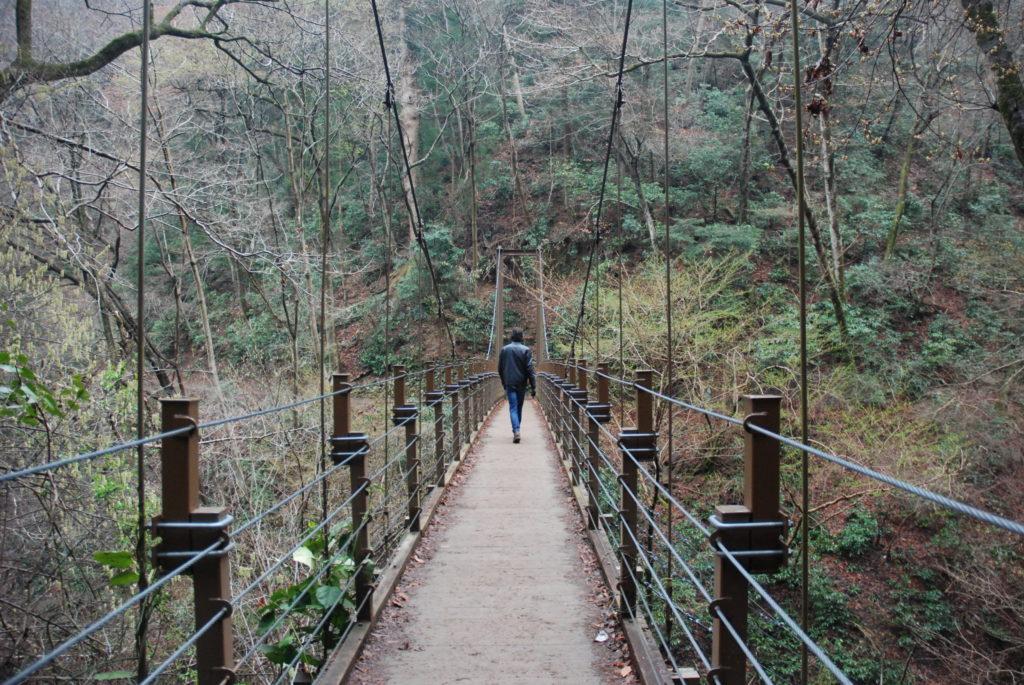 man walking over a bridge