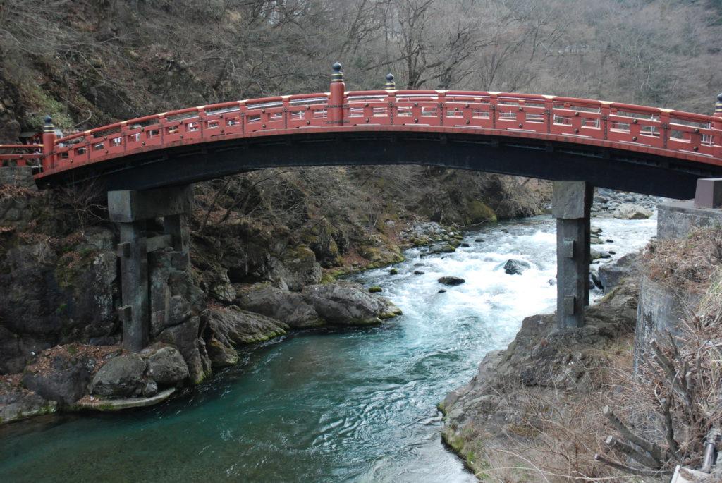 red bridge across river