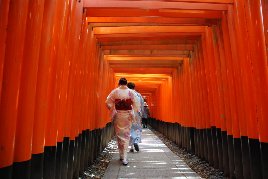 two women in kimonos, framed by torii gates
