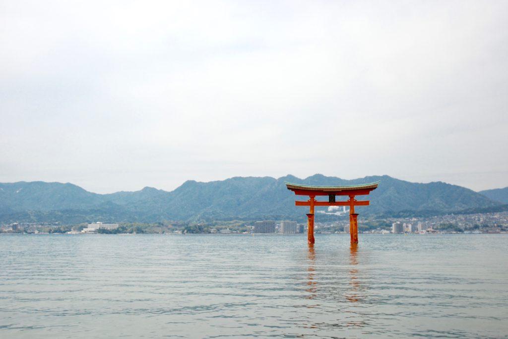 torii gate in the water