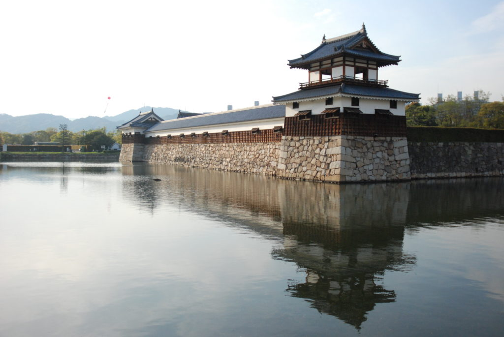 Hiroshima castle outer wall and water moat