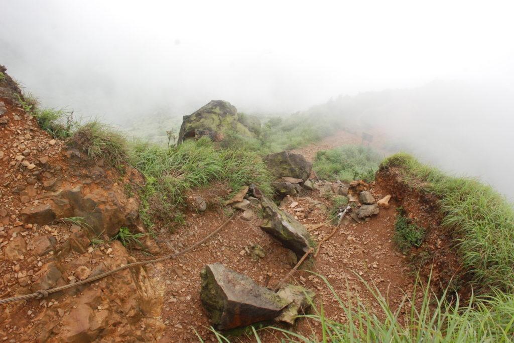 steep path, in the fog