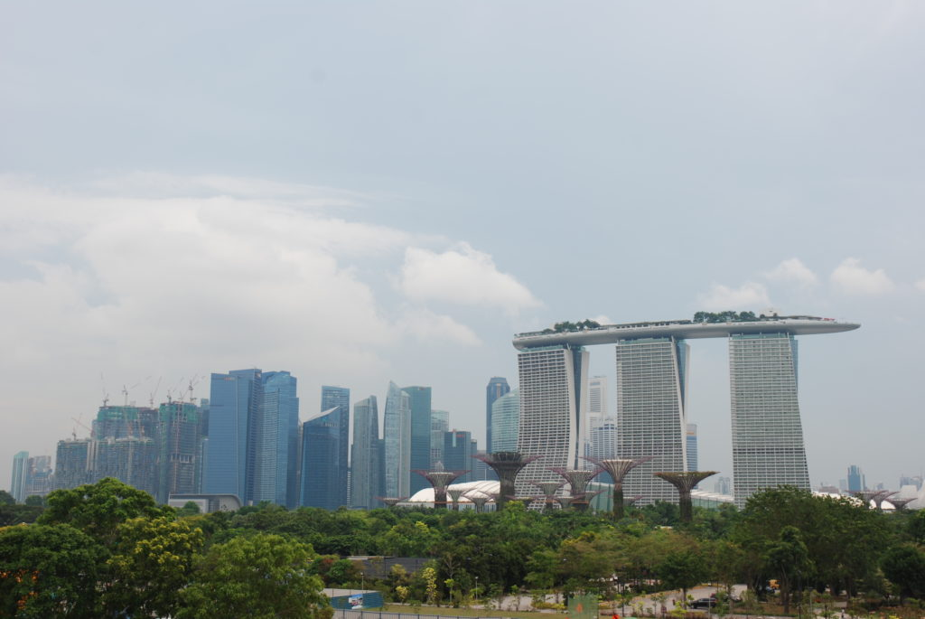 Singapore skyline with Marina Bay Sands and Supertrees and Gardens by the Bay