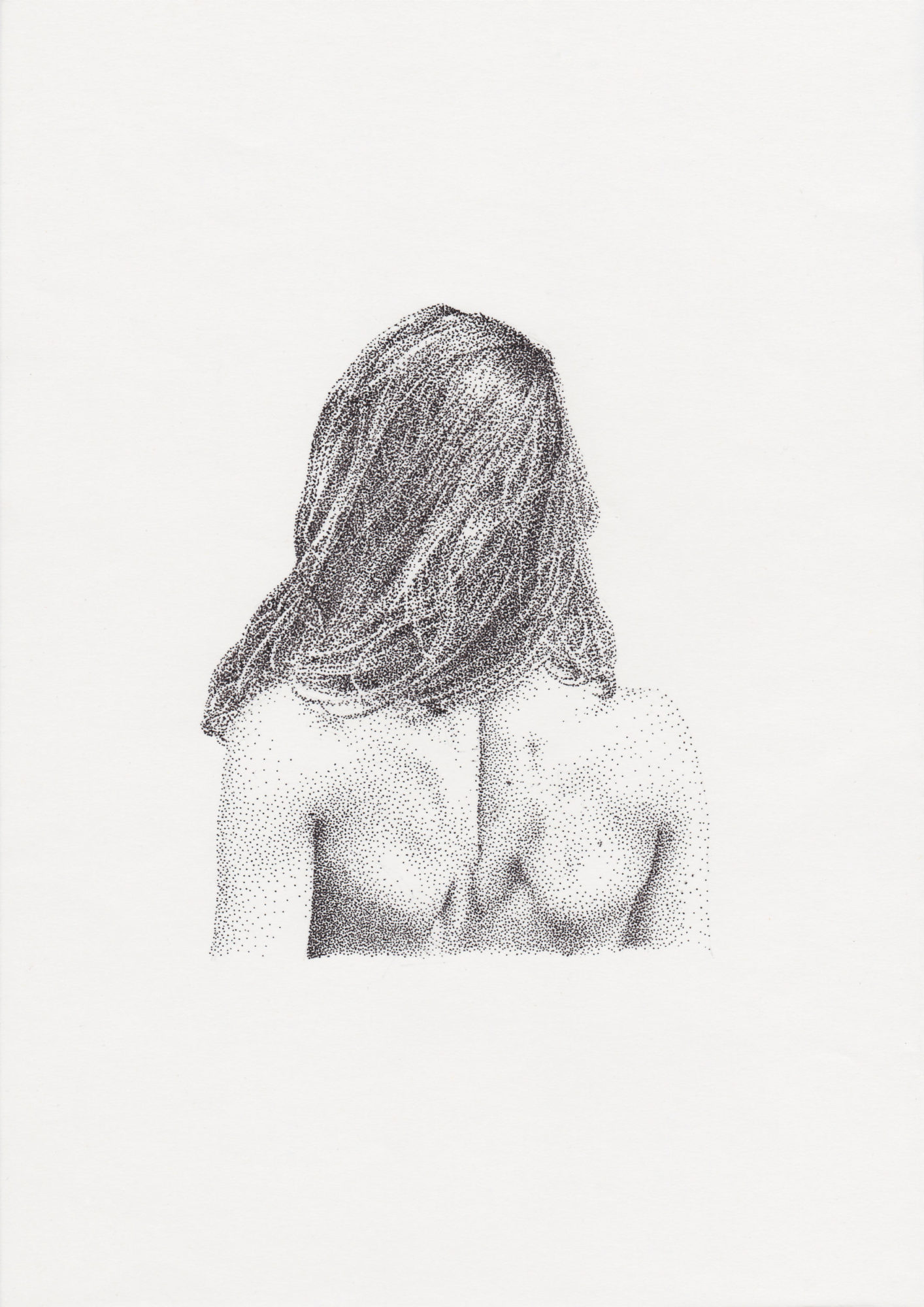 pointillist drawing of woman