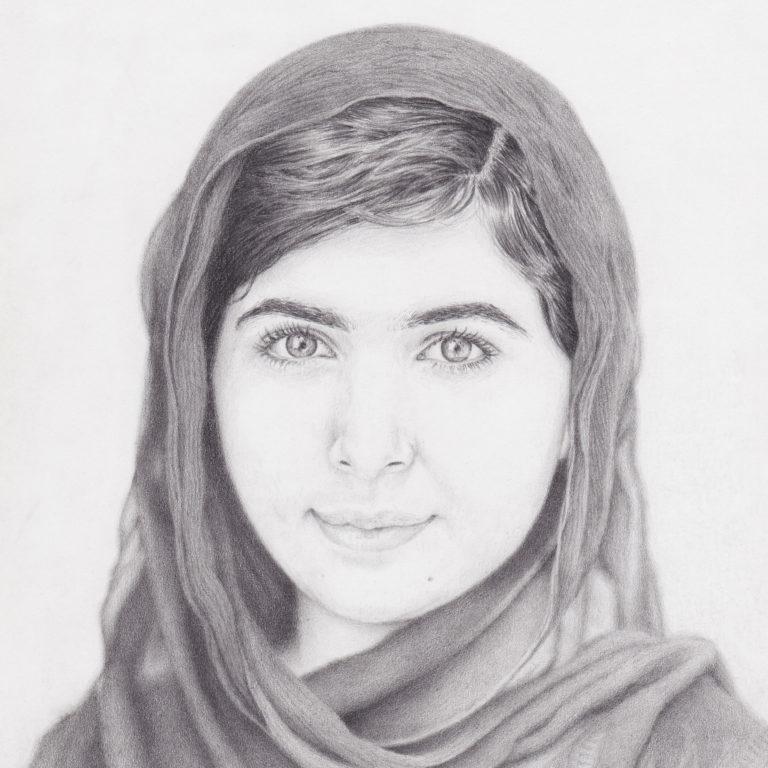 portrait drawing of Malala Yousafzai