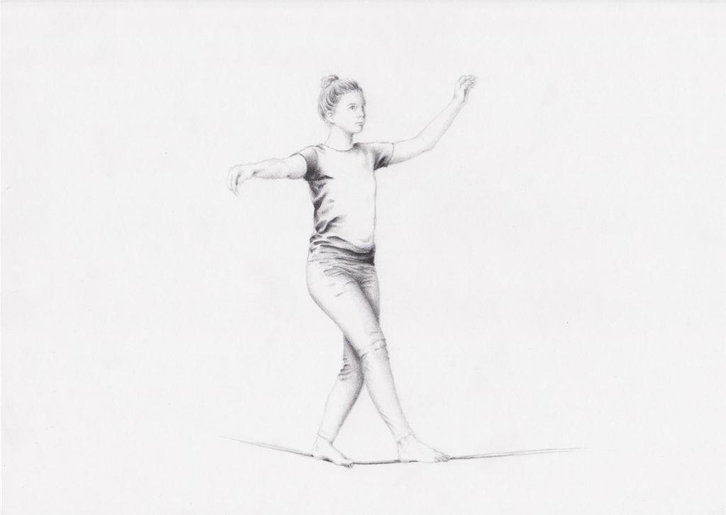 Drawing of slackliner