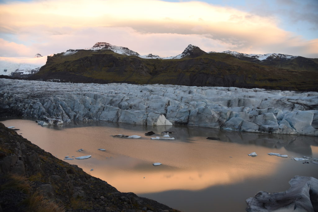 glacier and glacier lagoon at dusk