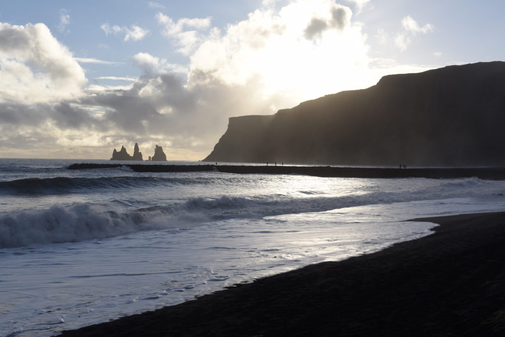 black sand beach in Vík